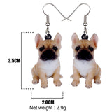 Sitting French Bulldog Portrait Hook Earrings