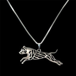 Leaping Pit Bull Pendant Necklace