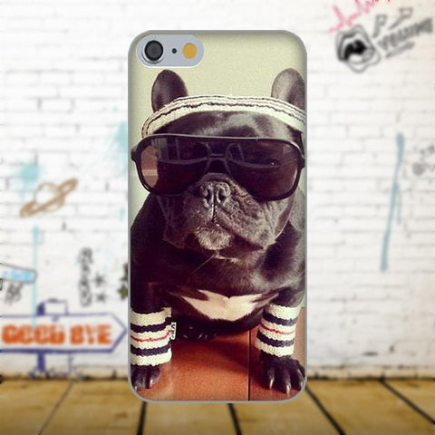 Cool Gray French Bulldog Sunglasses Headband Phone Case for Galaxy