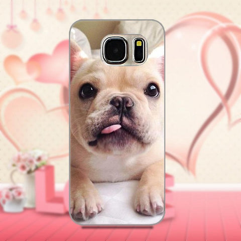 Light Tan French Bulldog Laying Down Little Tongue Out Phone Case for Galaxy