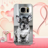 White Gray Dots Right Blue Eye French Bulldog Phone Case for Galaxy