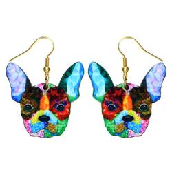 Colorful Rainbow French Bulldog Hook Earrings