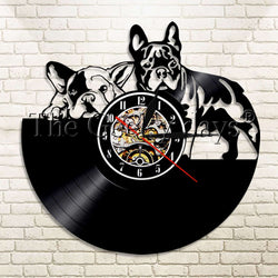 Two French Bulldogs Vinyl Record Wall Clock