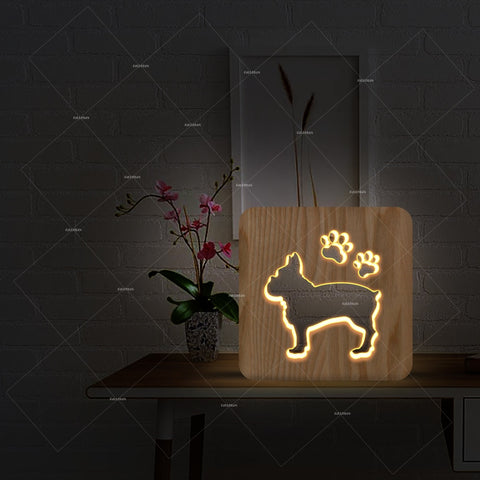 French Bulldog 3D LED Wooden Night Light
