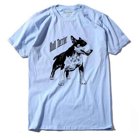 Black White Bull Terrier Dog Text Men's T-Shirt