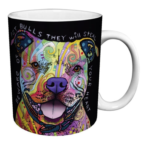 Colorful Design Pattern Pit Bull Coffee Mug