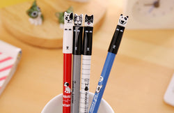 Funny French Bulldog Bull Terrier Faces Black Ink Gel Pen Set (Includes All 4)