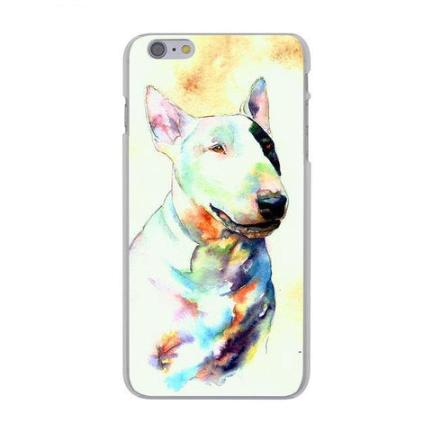Bull Terrier Water Painting Black Eye Patch Phone Case for iPhone