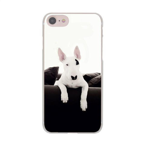 White Black Patch Bull Terrier Leaning Over On Couch Phone Case for iPhone