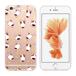 Cute Bull Terrier Cartoon Emoji Pattern Transparent Phone Case for iPhone