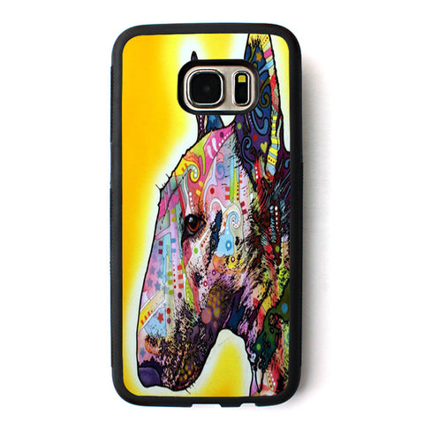 Colorful Patterned Design Bull Terrier Side View Phone Case for Galaxy