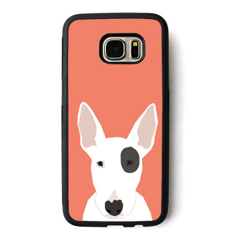Cartoon Bull Terrier Drawing Black Patch Big Ear Phone Case for Galaxy