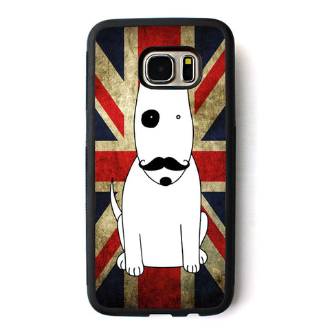 British Flag Bull Terrier Black Patch Mustache Phone Case for Galaxy