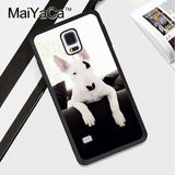 White Black Patch Bull Terrier Leaning Over On Couch Phone Case for Galaxy