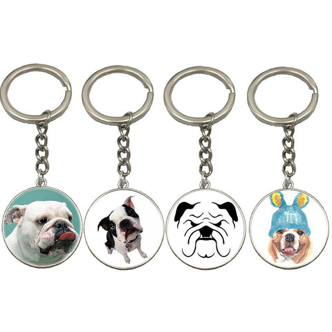 Portrait Bulldog Simple Round Keychain