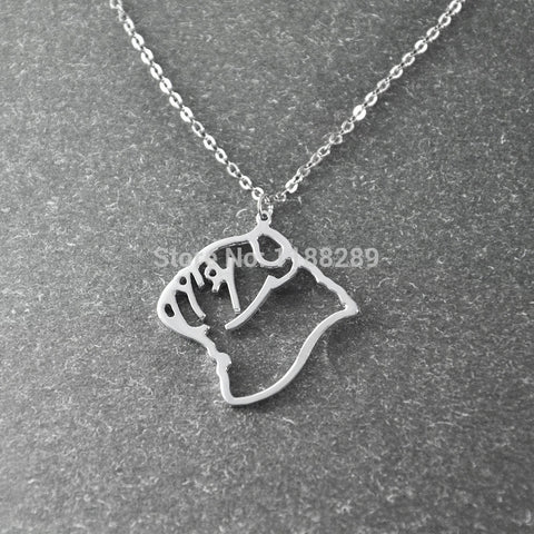 English Bulldog Outline Head Pendant Necklace