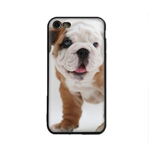 Wrinkly White English Bulldog Brown Leg Phone Case for iPhone