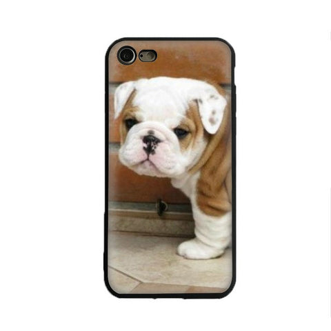 Wrinkly English Bulldog Puppy White Brown Brick Phone Case for iPhone