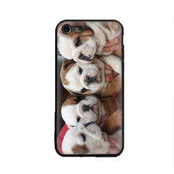 Four English Bulldog Baby Puppies Group Portrait Phone Case for iPhone