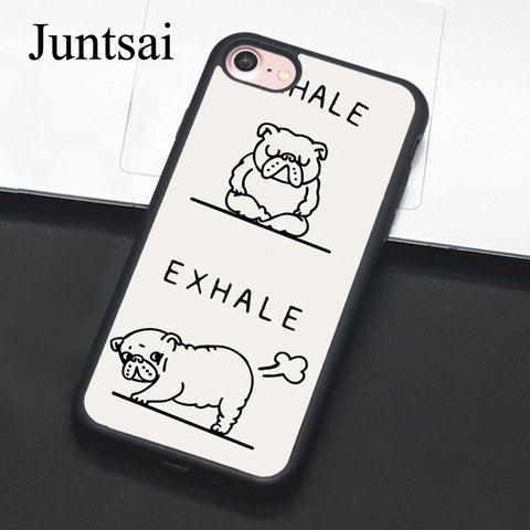 Inhale Exhale English Bulldog Drawing Sketch Outline Phone Case for iPhone