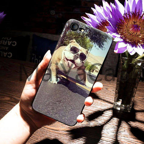 Cool English Bulldog Skateboarding Sunglasses Phone Case for iPhone
