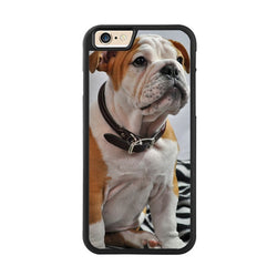 White with Brown Ears English Bulldog Sitting Phone Case for iPhone