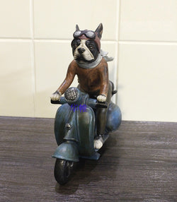 Motorbike Riding Boston Terrier Figurine Ornament