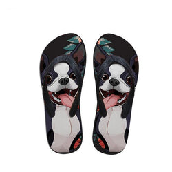Happy Boston Terrier Black Background Flip Flop Sandals