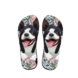 Happy Cartoon Boston Terrier Floral Background Flip Flop Sandals
