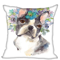 French Bulldog Flower Crown Water Painting Pillowcase