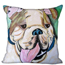English Bulldog Tongue Cartoon Painting Pillowcase