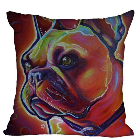 French Bulldog Dark Brown Red Color Filter Pillowcase