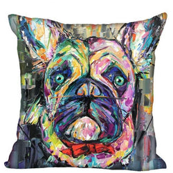 French Bulldog Colorful Rainbow Painting Red Bow Tie Pillowcase