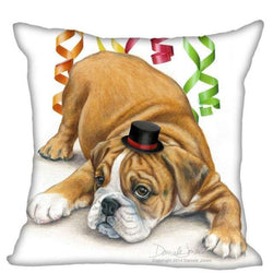 English Bulldog Cartoon Funny Small Hat Pillowcase