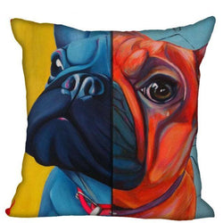 French Bulldog Half Blue Half Red Piillowcase