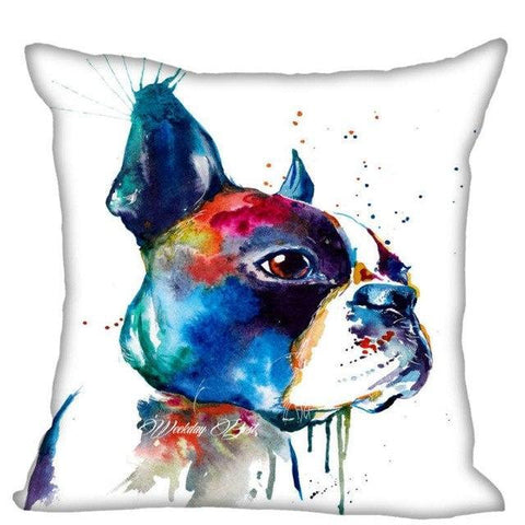 Black White Boston Terrier Color Painting Design Pillowcase