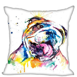 English Bulldog Colorful Water Painting Design Pillowcase