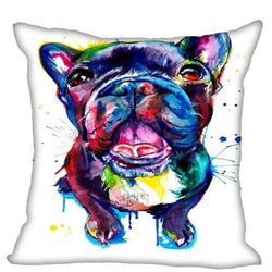 Black French Bulldog Colorful Water Painting Design Pillowcase