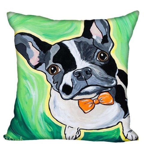 French Bulldog Orange Bow Tie Color Cartoon Pillowcase