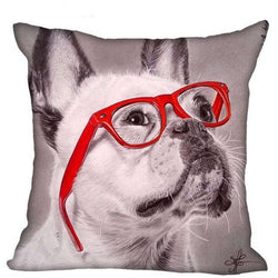 French Bulldog Looking Up Red Glasses Pillowcase
