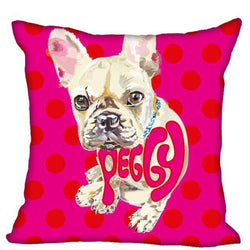 French Bulldog Red Polka Dots Background Pillowcase