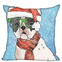 French Bulldog Green Glasses Santa Hat Pillowcase