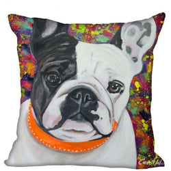 French Bulldog Orange Collar Colorful Background Pillowcase