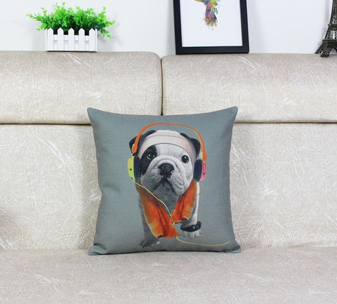 English Bulldog Puppy Working Out Towel Headphone Pillowcase