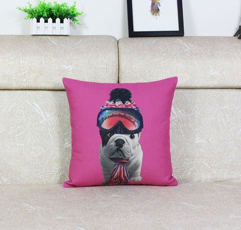 English Bulldog Puppy Ski Google Scarf Pink Pillowcase