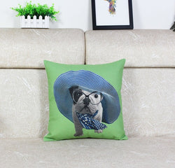 English Bulldog Puppy Wide Sun Hat Blue Scarf Pillowcase