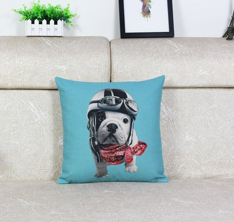 English Bulldog Puppy Aviator Red Bandana Pillowcase