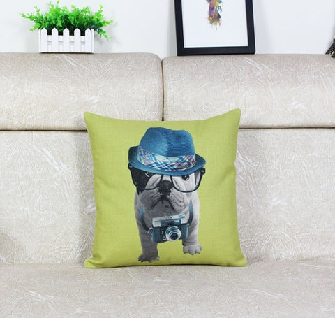 English Bulldog Puppy Photographer Blue Hat Pillowcase