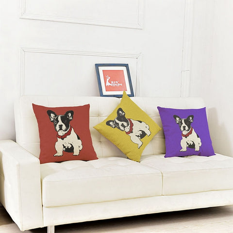 French Bulldog Sketch Red Collar Sitting Pillowcase