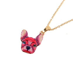 Reddish French Bulldog Head Pendant Necklace